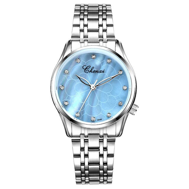 Luxus Damenuhr Fashion Blue Shell Edelstahl Analog Quarzuhr - Coomero
