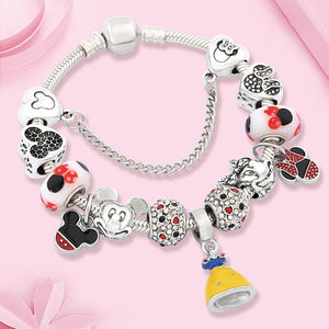 Kinder Armband Gelbe Prinzessin Charme Anhänger Mickey Minnie - Coomero