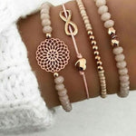 4er Set Perlen Armband Herz Endlos Blume Orange Gold