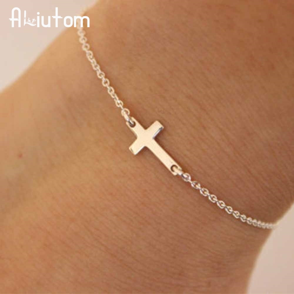 Fashion Charme Cross Chain Armband mit Kreuz, gold/silber.