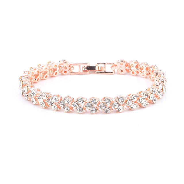 Exquisites Luxus Damen Armband Strass Kristall 16,5 cm Silber/Rosé/Gold - Coomero