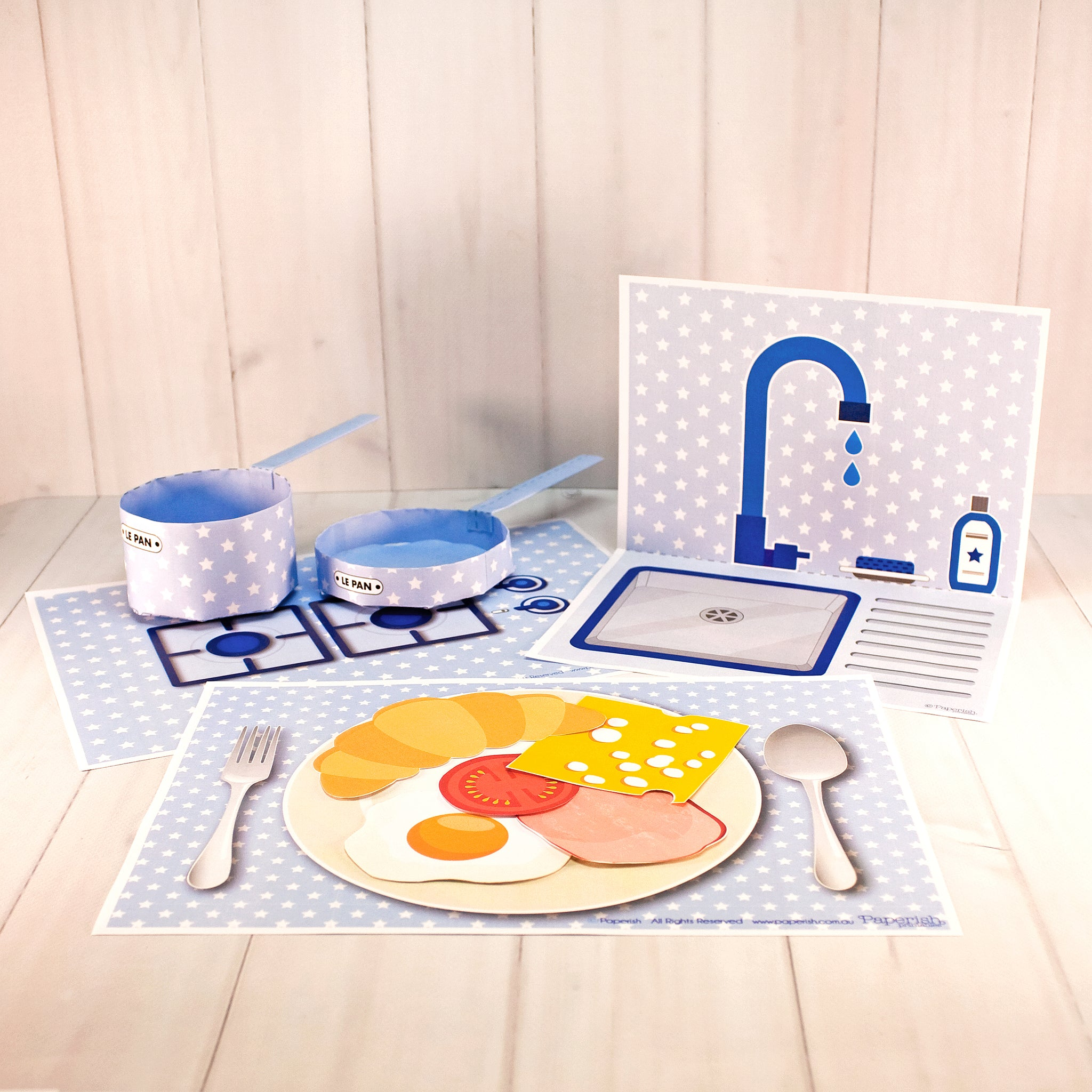 Kitchen set | Blue Star | paper craft pattern | simple crafts kids
