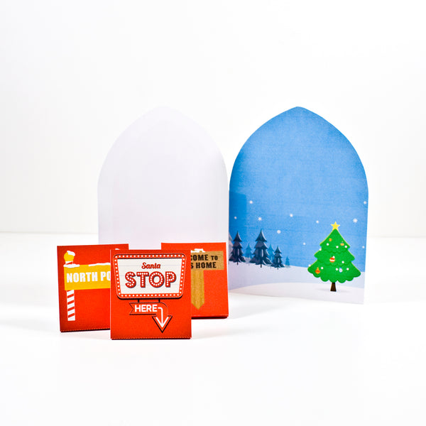 Printable Elf door. Door to the North Pole. A fold over card with Elf door and North Pole scenery.