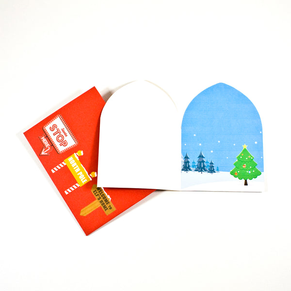 Printable Santa door Christmas card. A great Christmas paper craft. The envelope comes with little signs to invite Santa home.