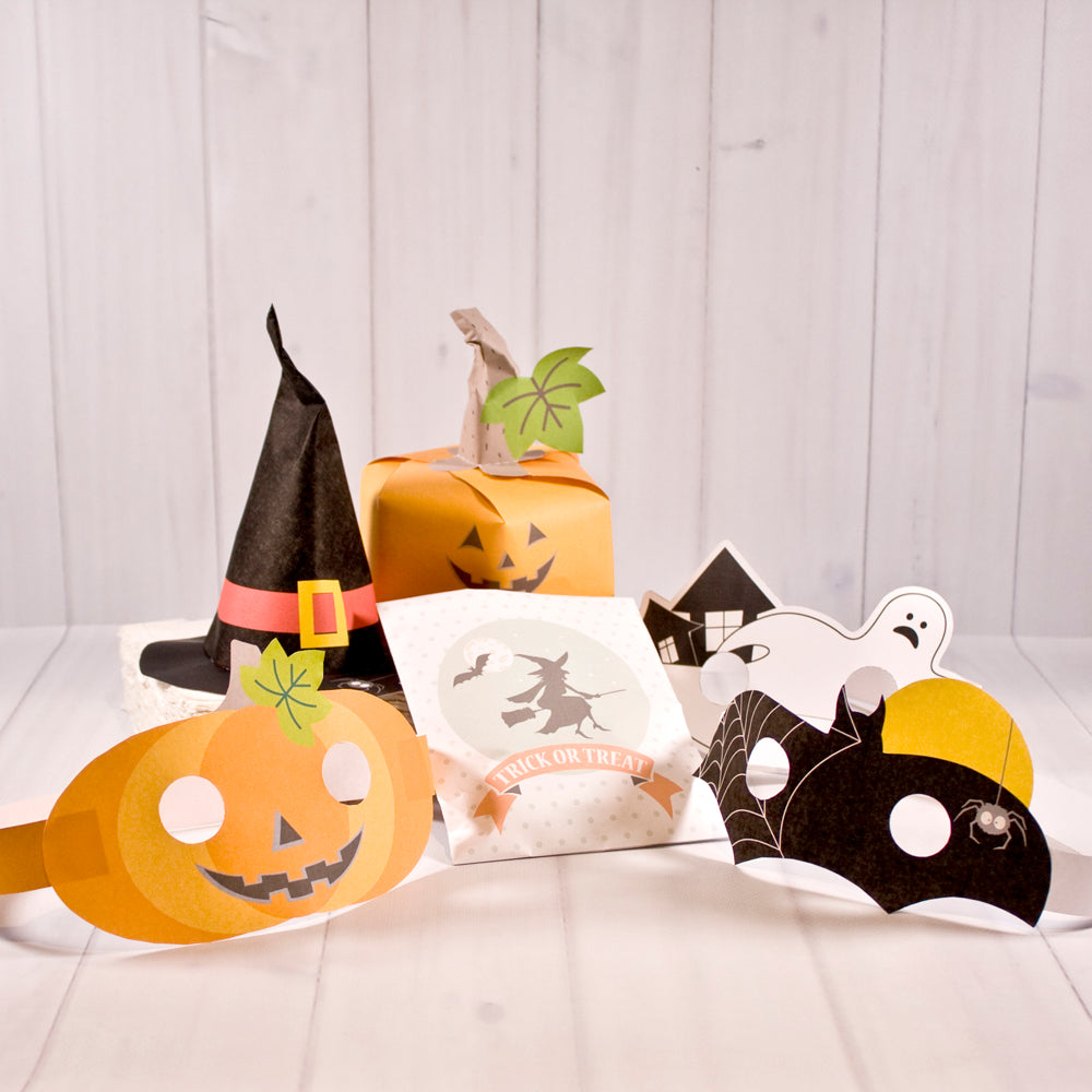 Halloween | Pumpkin and Witch Hats, masks and favor bag set