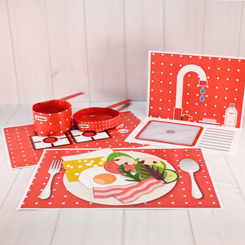 Kitchen set | Red Dot | paper craft pattern | arts crafts kids