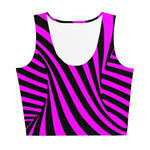 Pink and black striped all over printed cropped tank top - Twisted Vortex Collection by Florida Mode