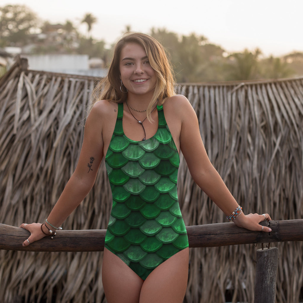 Green Fish Scales Mermaid One-Piece Swimsuit - Florida Mode Online Boutique