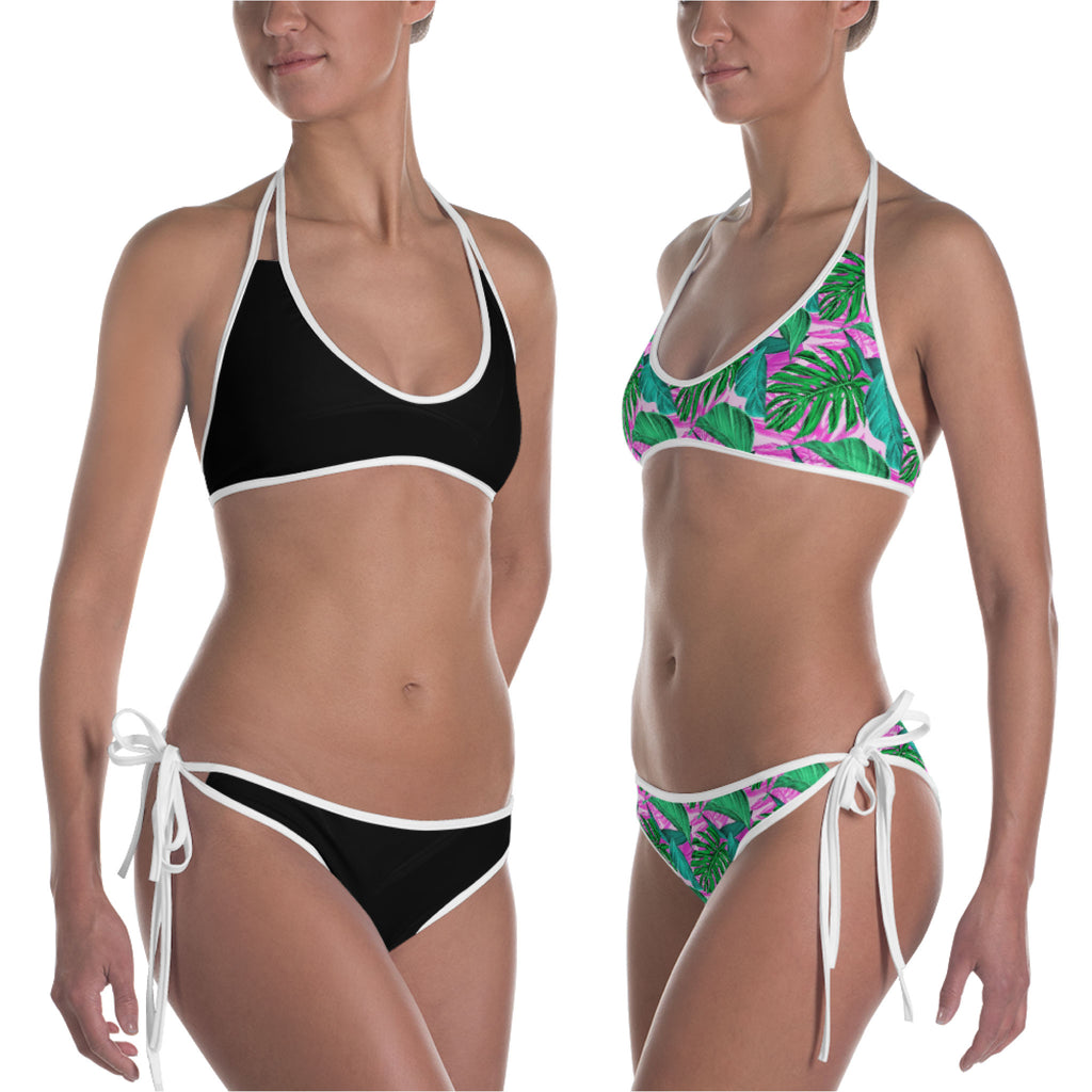 Pink Palm Leaves and Black Reversible Bikini
