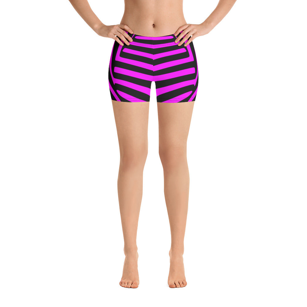 Twisted Vortex Monochrome Black And Pink Women's Gym Shorts - Florida Mode Online Boutique