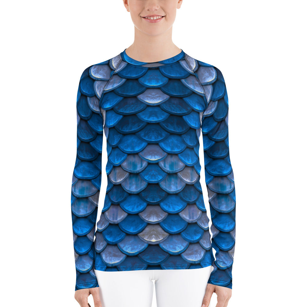 Blue Fish Scales Mermaid Rash Guard for Women. Long Sleeved Women's Rashie by Florida Mode