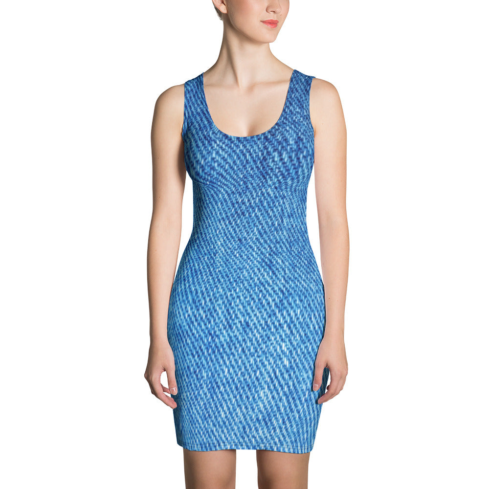 Denim Effect Fitted Dress - Printed Dress - Florida Mode Online Boutique