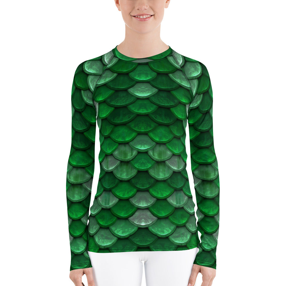Green Fish Scales Mermaid Rash Guard for Women. Long Sleeved Women's Rashie by Florida Mode