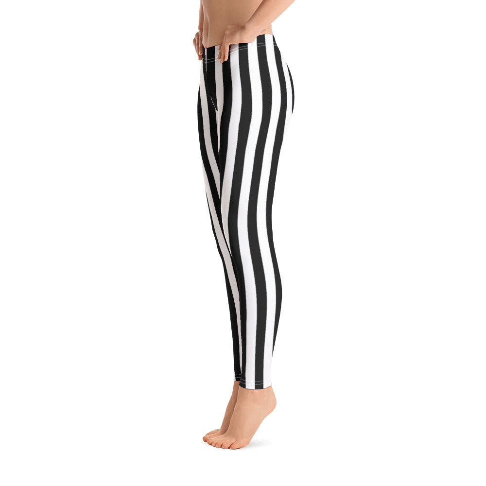 Black And White Striped Leggings - Florida Mode Leggings / Yoga Pants