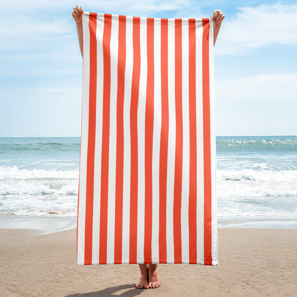 Orange Florida Stripes Beach Towel - Orange and White Striped Pool Towel by Florida Mode