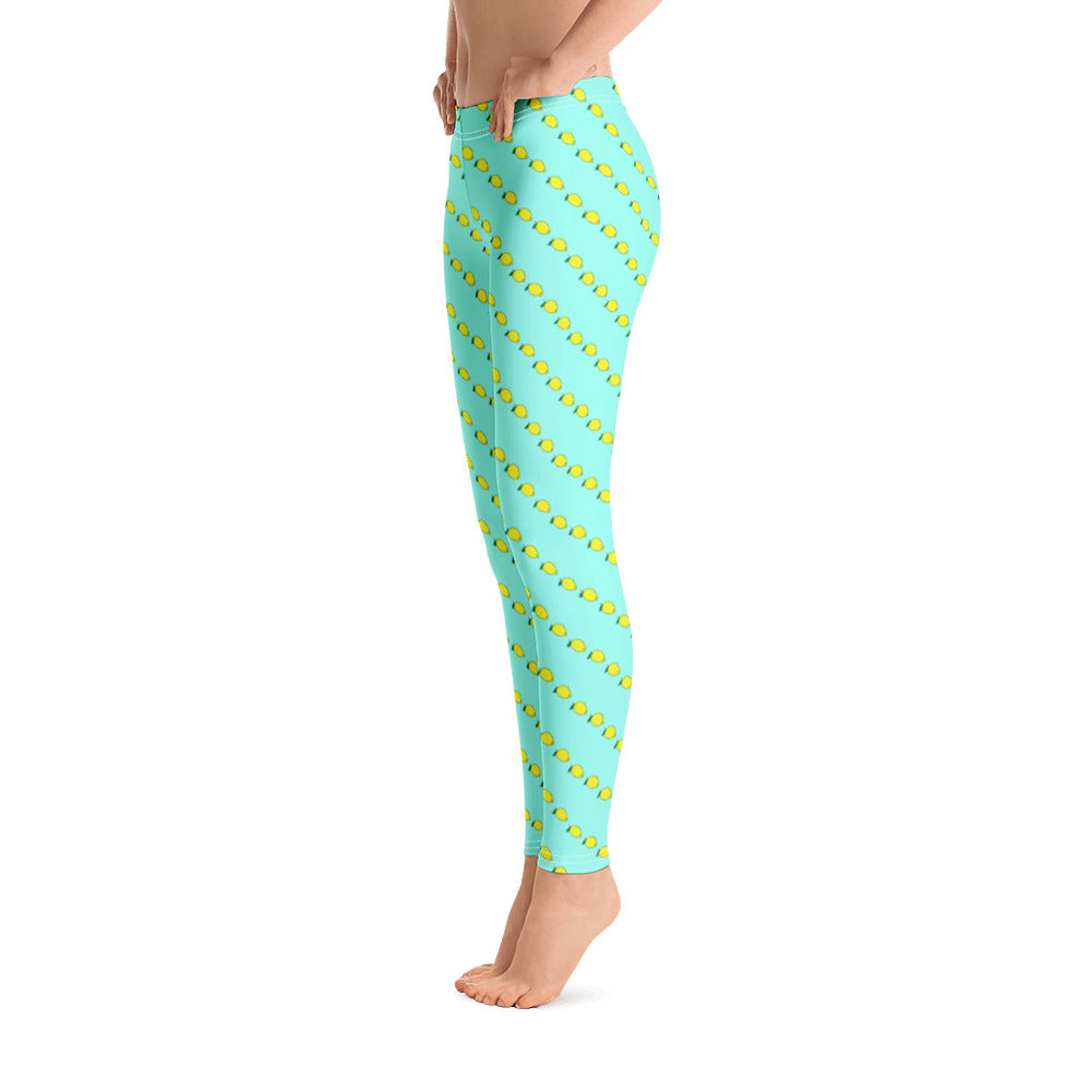 Art deco mint leggings with lemon print - Yoga Pants - Florida Mode Online