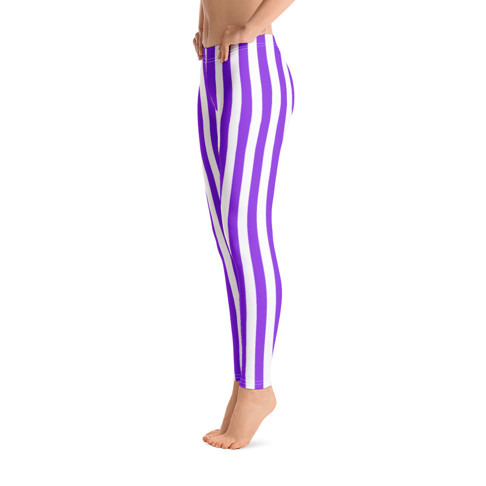Purple And White Striped Leggings - Florida Mode Leggings / Yoga Pants