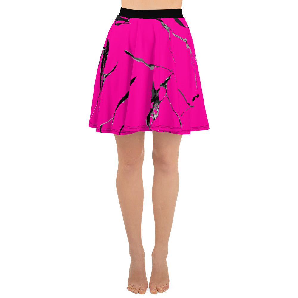 Neon Pink Marbled Skater Skirt - Florida Mode Online Boutique