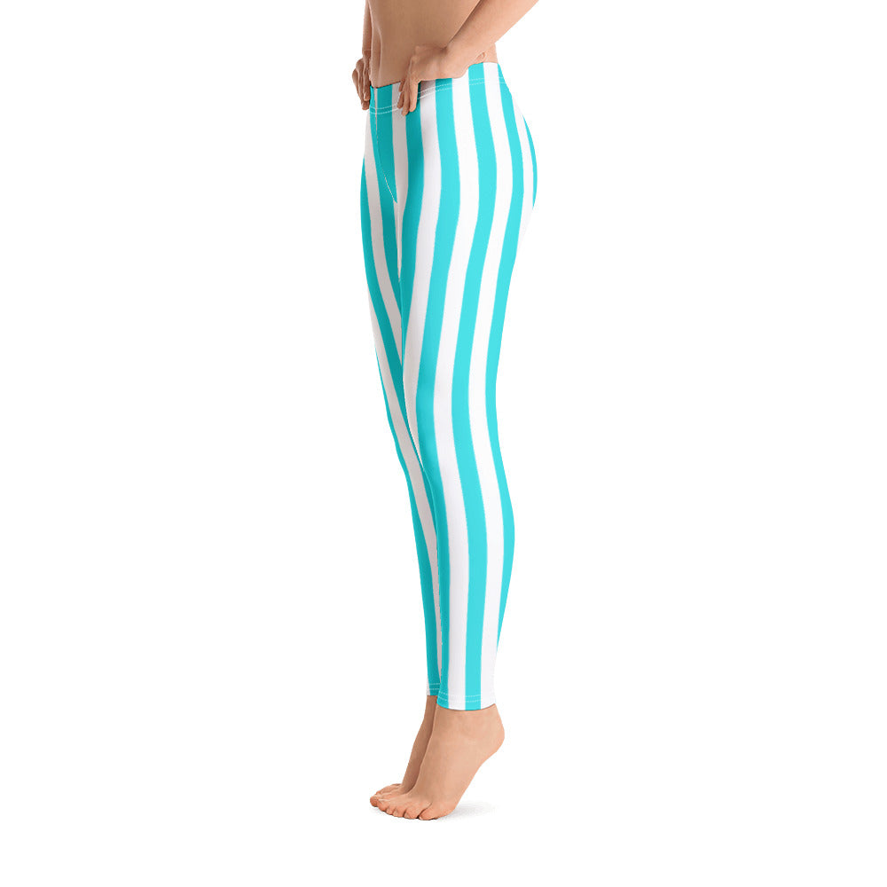 Candy Blue And White Striped Leggings - Florida Mode Leggings / Yoga Pants