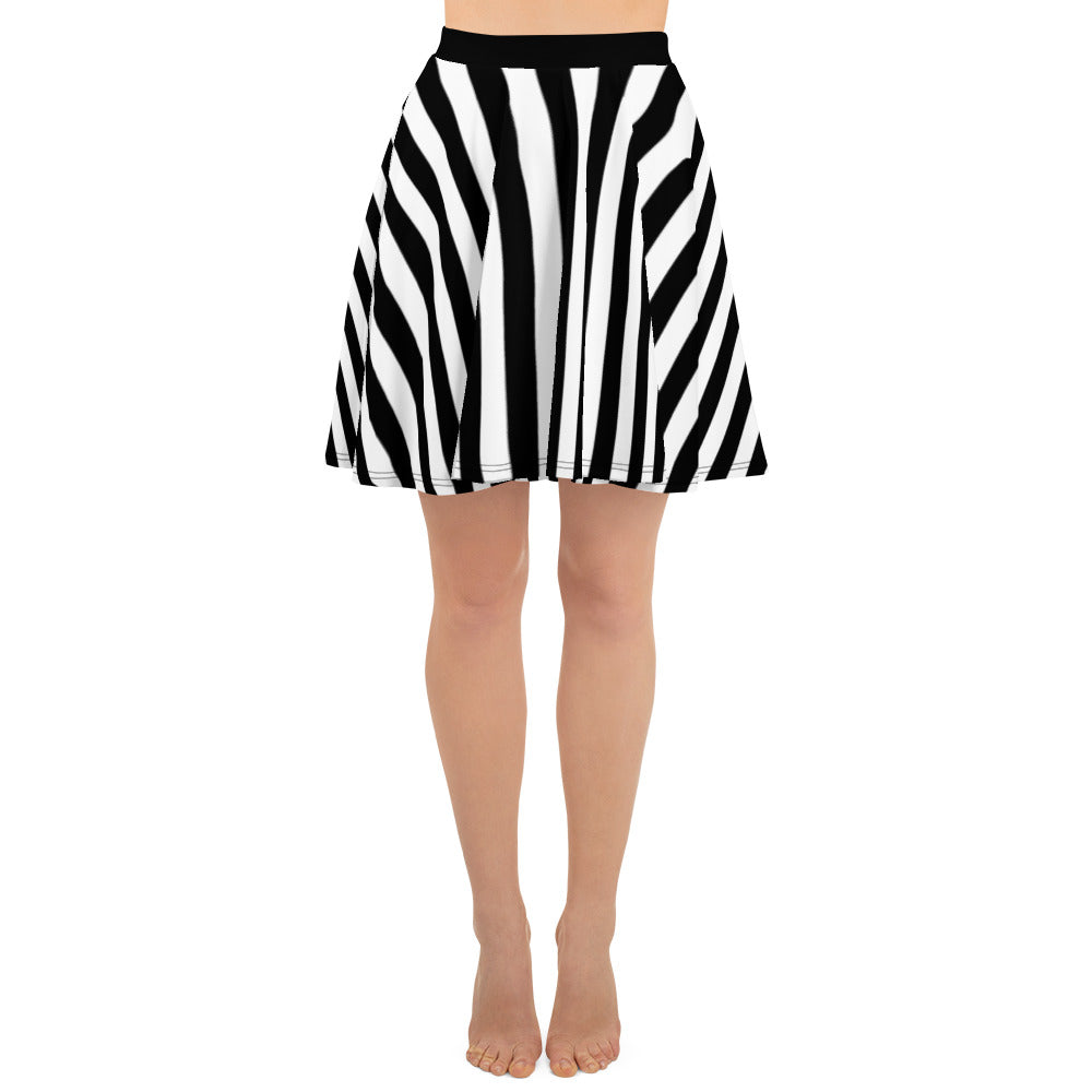 Black And White Striped Skater Skirt - Florida Mode Online