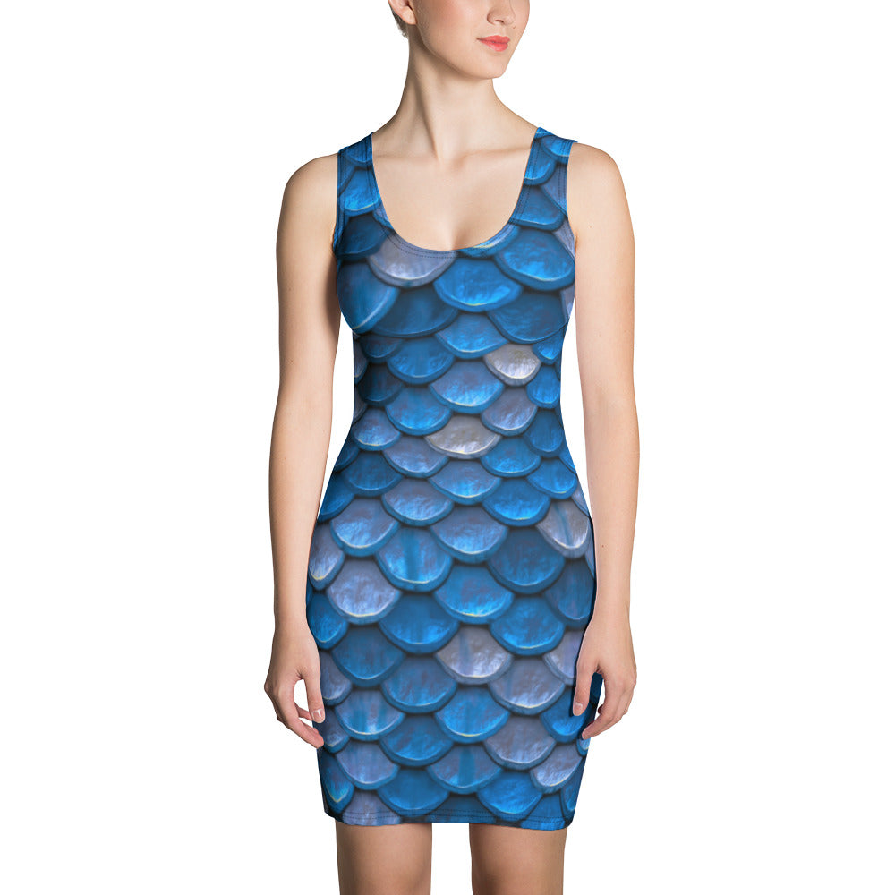 Blue Fish Scales Fitted Mermaid Dress For Women - Florida Mode Online Boutique