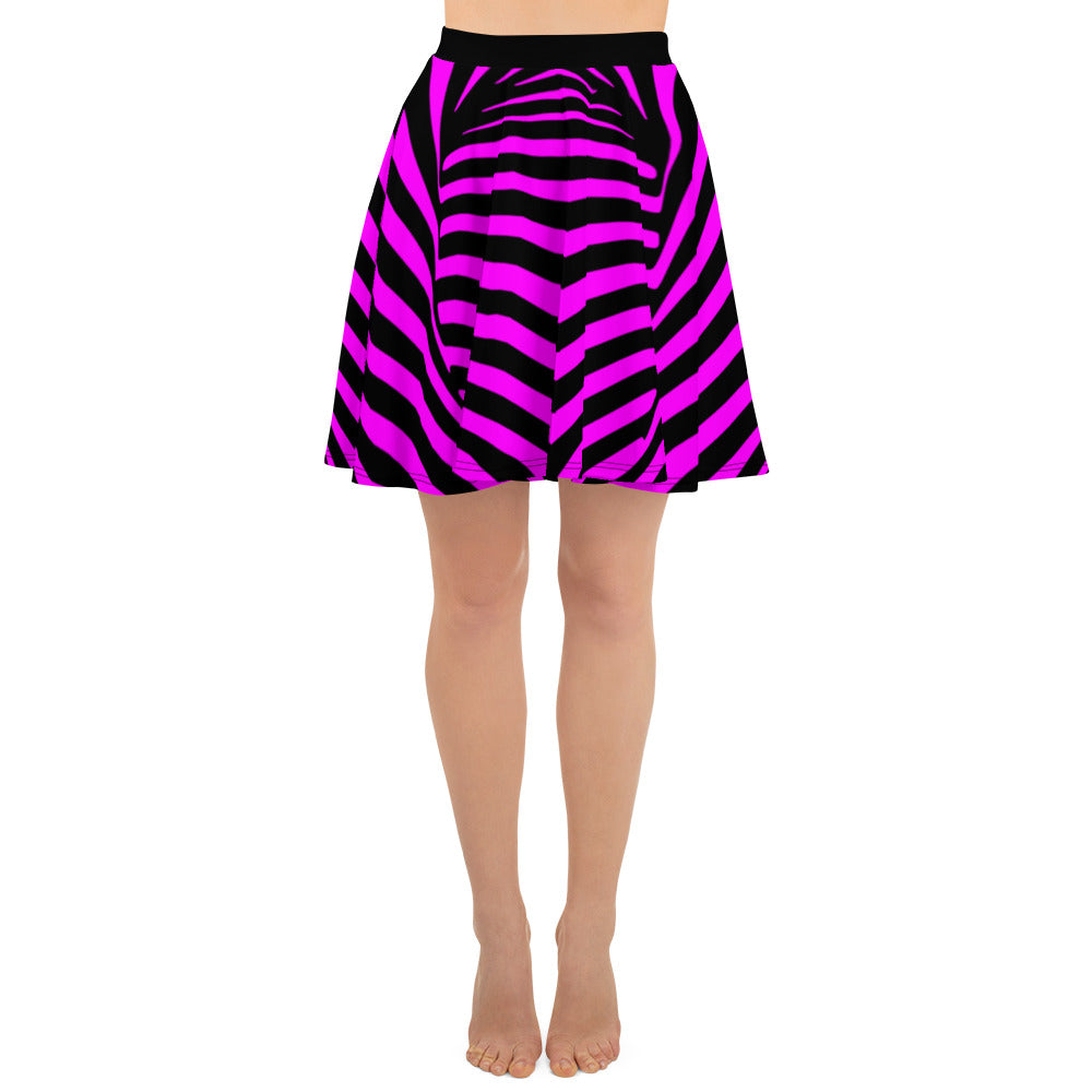 Twisted Vortex Black And Pink Striped Skater Skirt - Florida Mode Online Boutique