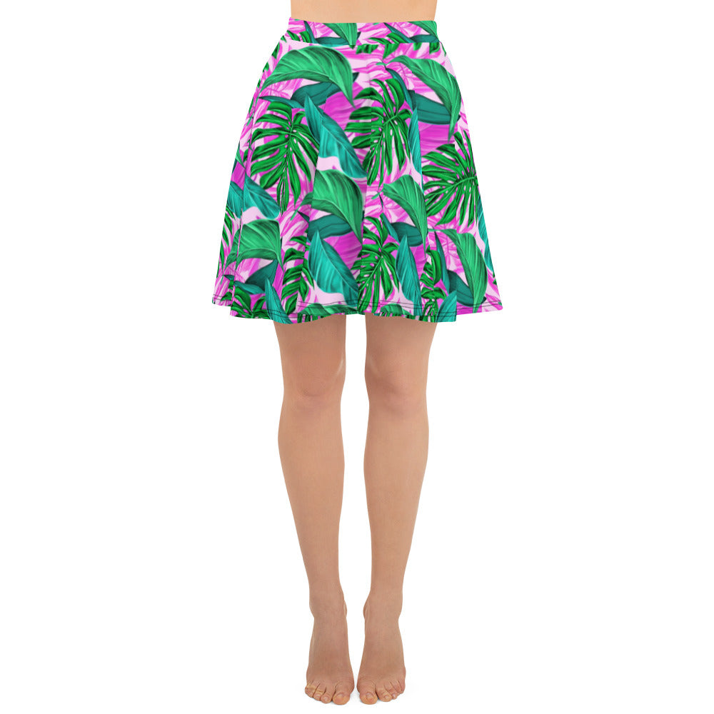 Pink Palm Leaves Skater Skirt - Florida Mode Online