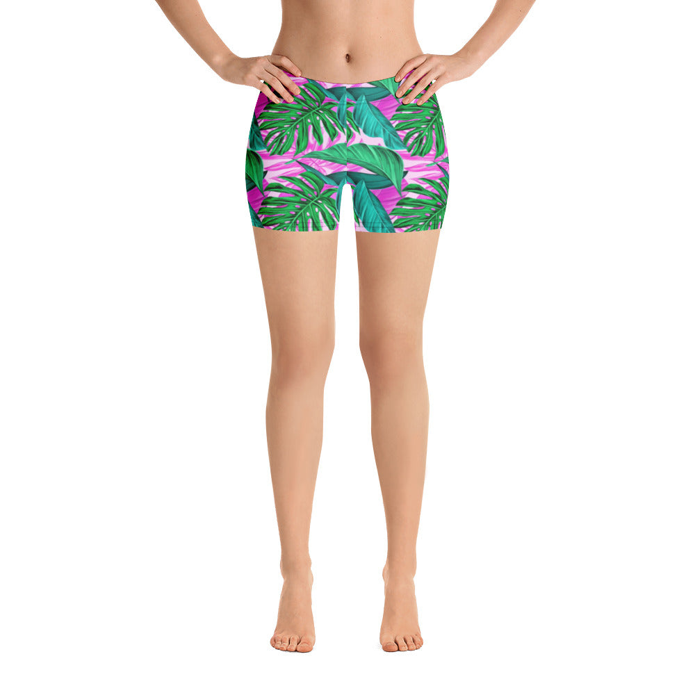 Pink Palm Leaves Workout Shorts - Florida Mode Exclusive