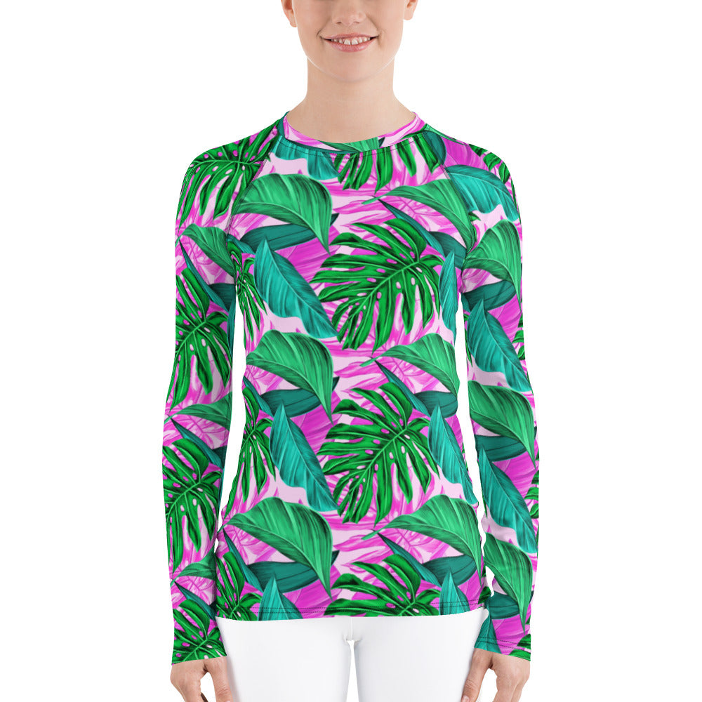Pink Palm Leaves Women's Rashguard - Florida Mode Exclusive
