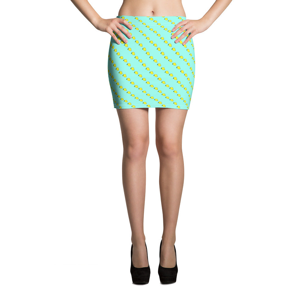 Mint fitted Mini Skirt with fruity yellow lemon print.