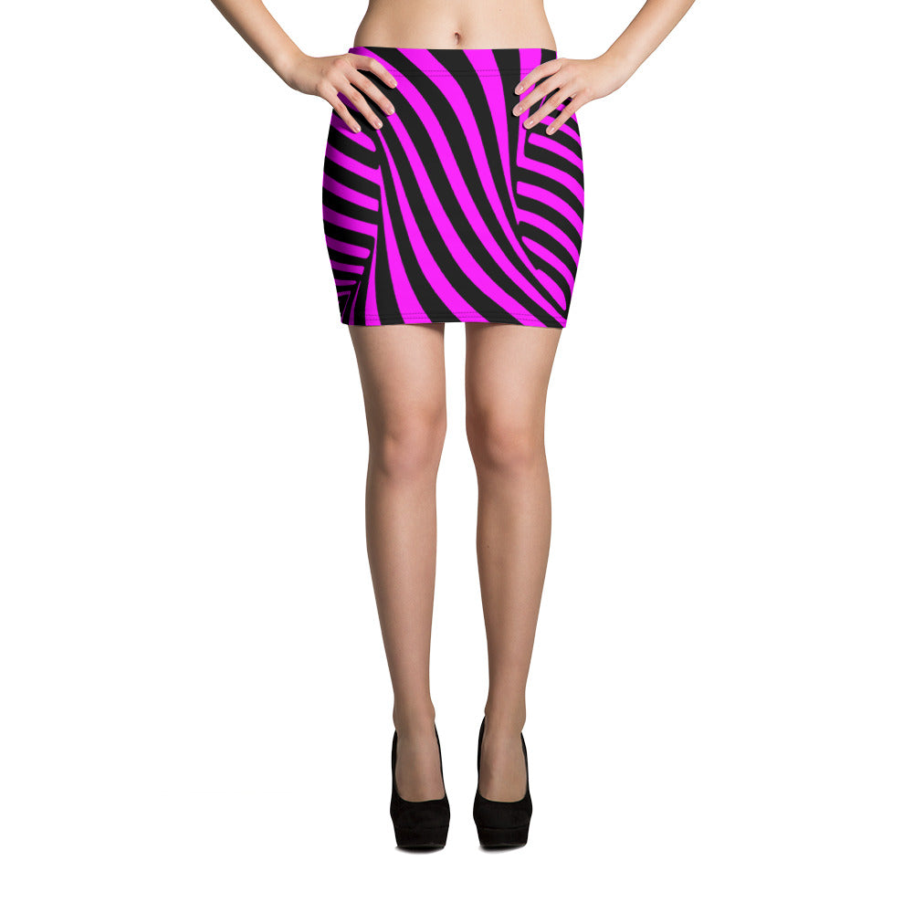 Twisted Vortex Mini Skirt In Pink And Black Monochrome Stripes - Florida Mode Online Boutique