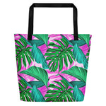 Large beach bag with pink palm leaves print
