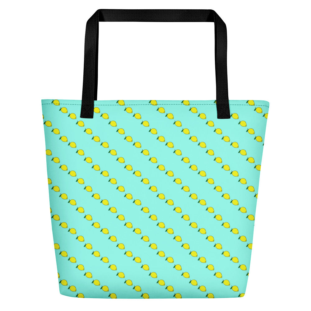 Large mint colored Beach Tote Bag with fruity yellow lemon print. Beach Bags by Florida Mode