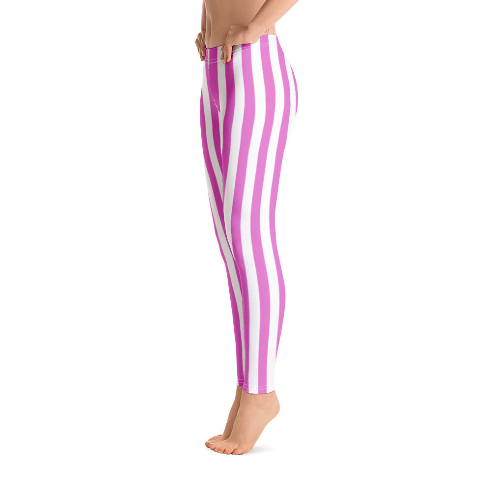Pink And White Striped Leggings- Florida Mode Leggings / Yoga Pants
