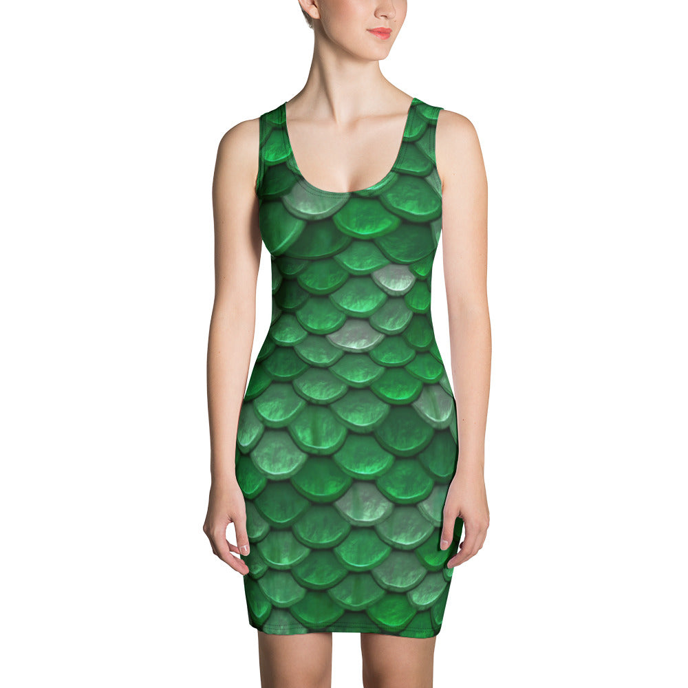 Printed Green Fish Scales Fitted Mermaid Dress For Women - Florida Mode Online Boutique