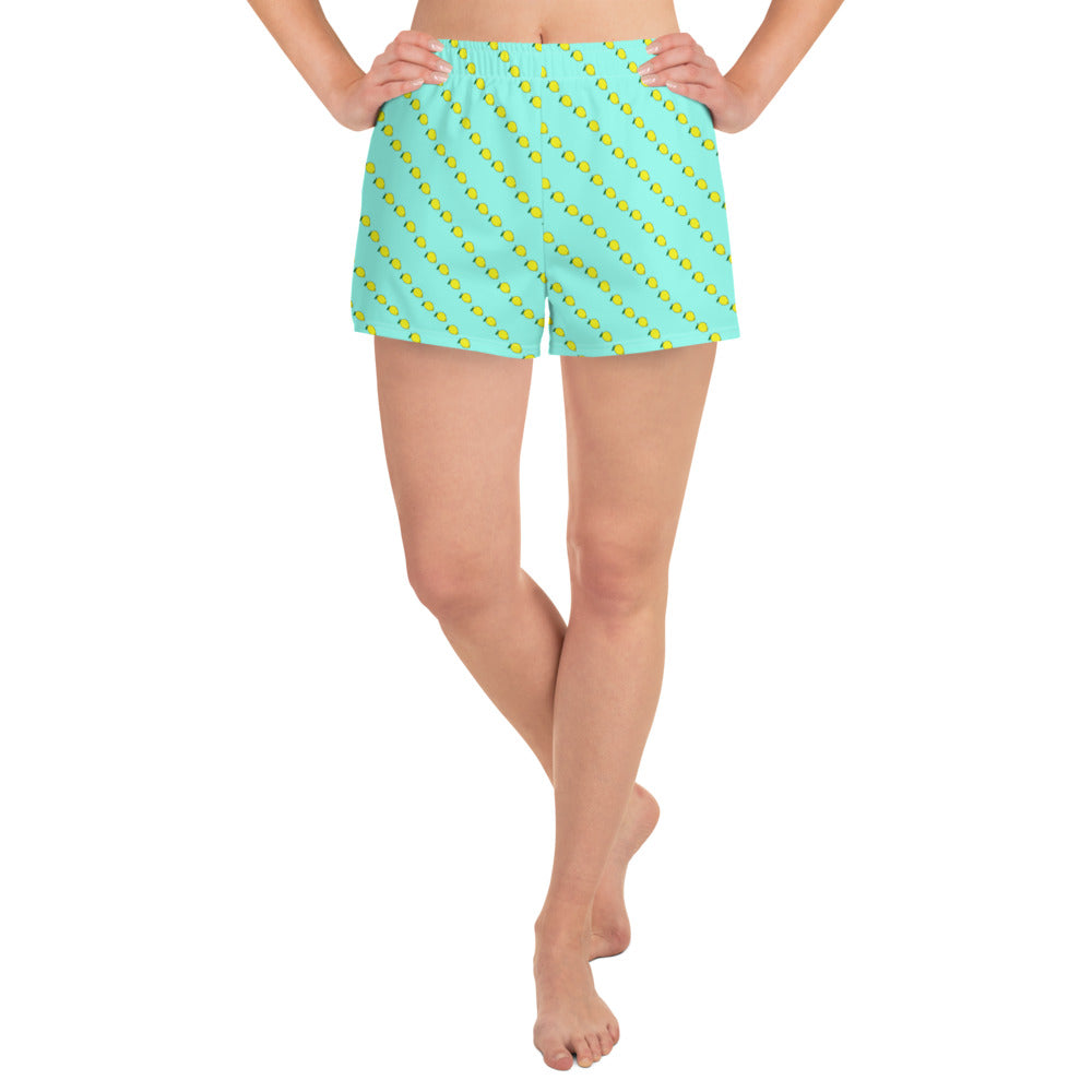 Mint colored athletic shorts with fruity yellow lemon print - athleisure wear for women by Florida Mode