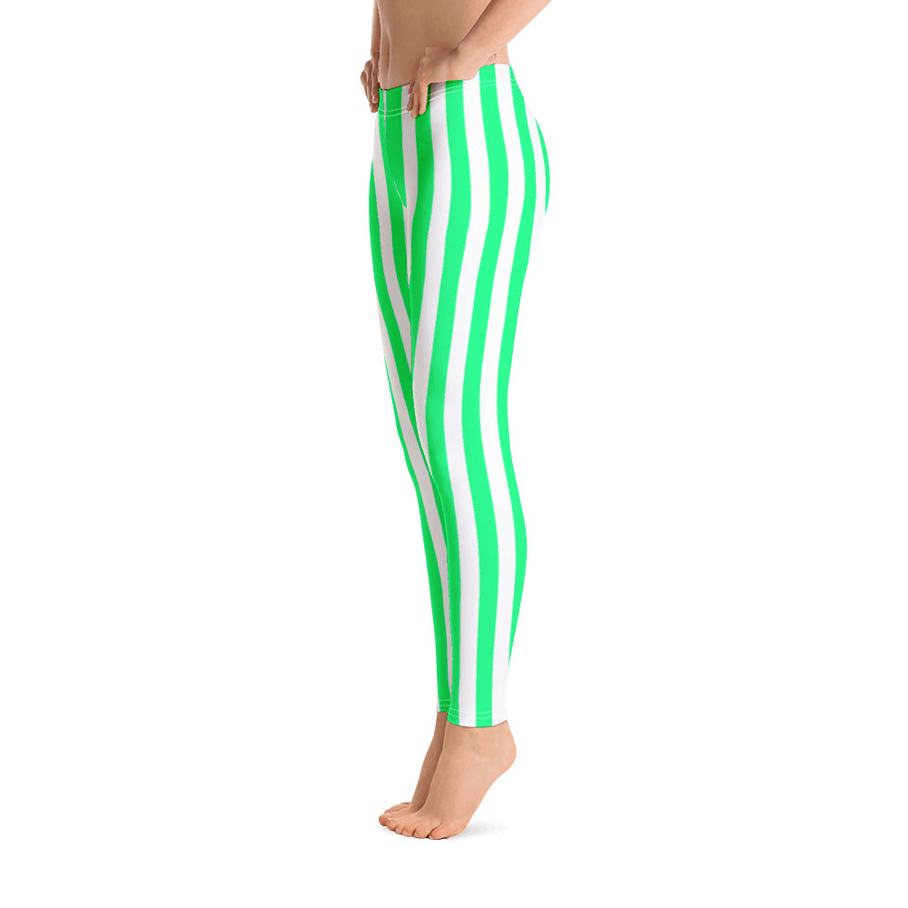 Green And White Striped Leggings - Florida Mode Leggings / Yoga Pants