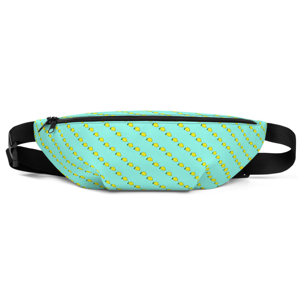Mint Fanny Pack with yellow lemon print. Waist Bag by Florida Mode.