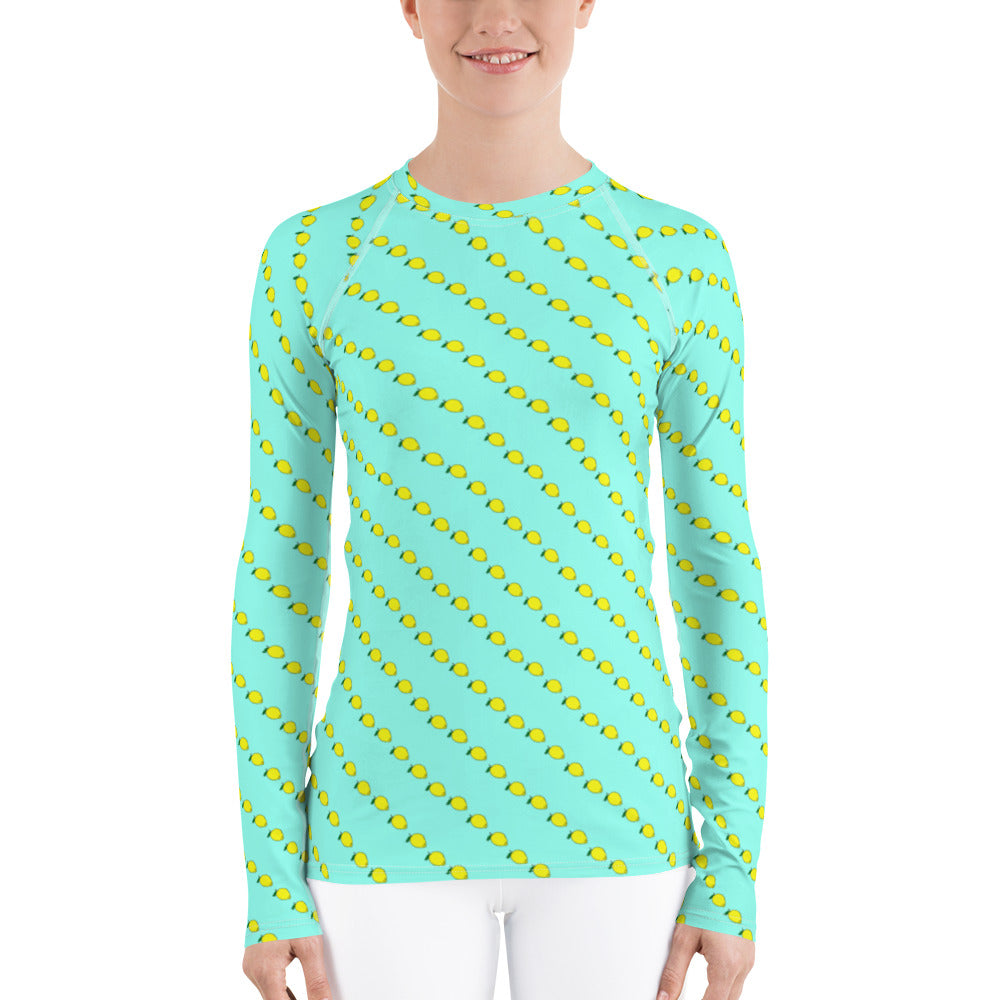 Lemon Mint Women's long sleeved Rash Guard. Rashie for Women with Lemon Print by Florida Mode
