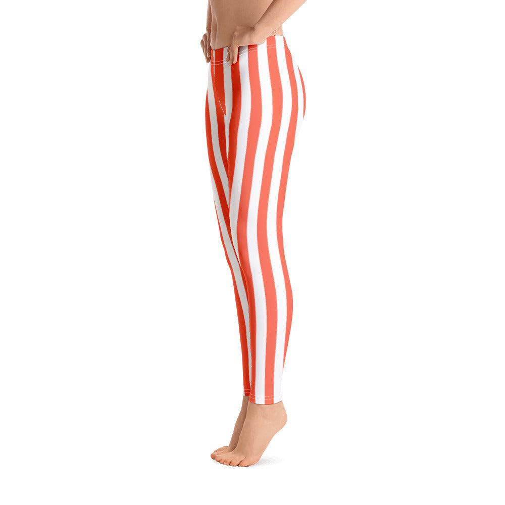 Orange And White Striped Leggings- Florida Mode Leggings / Yoga Pants