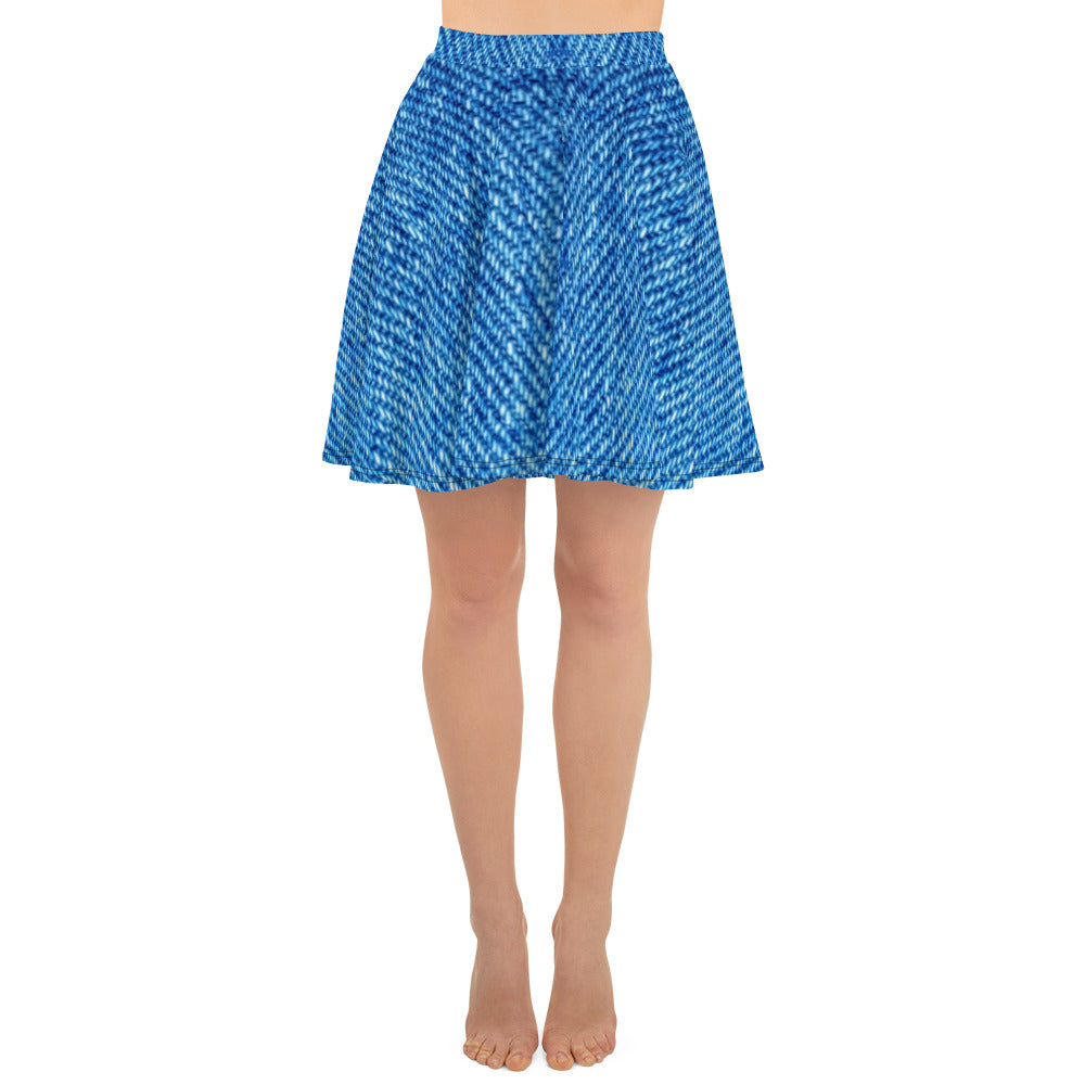 Denim Effect Skater Skirt - Florida Mode Exclusive