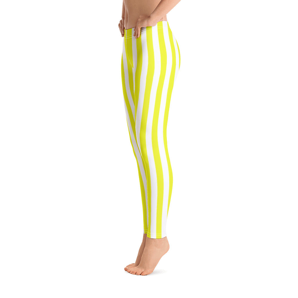 Yellow And White Striped Leggings - Florida Mode Leggings / Yoga Pants