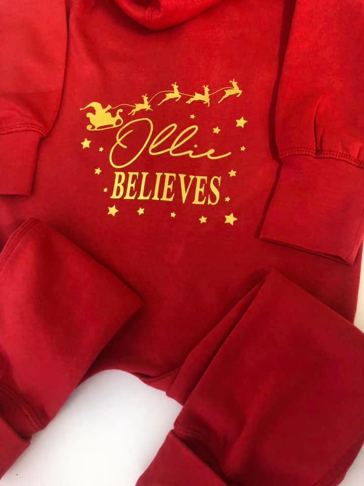 Personalised Children's Christmas BELIEVES Organic Cotton Onesie