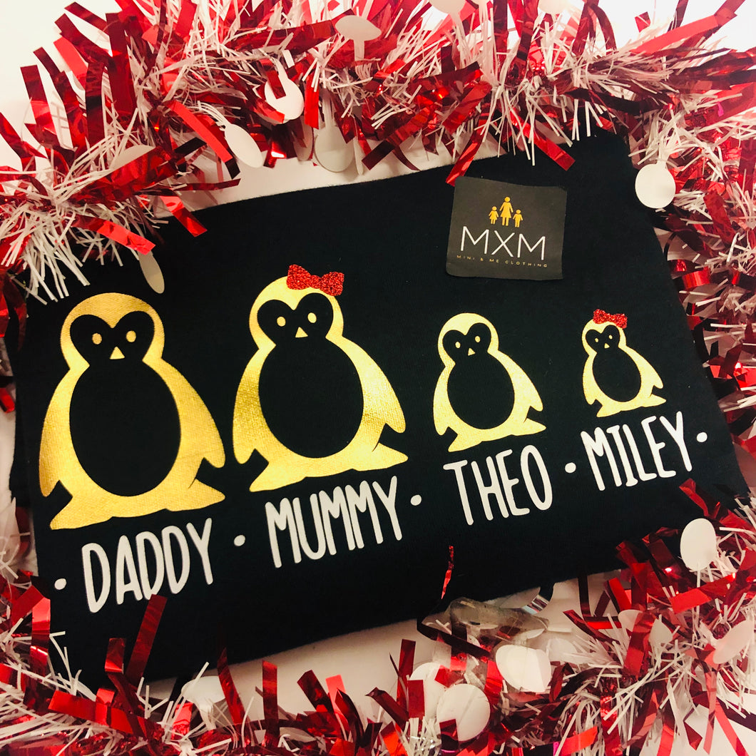 Personalised Christmas Penguin Family