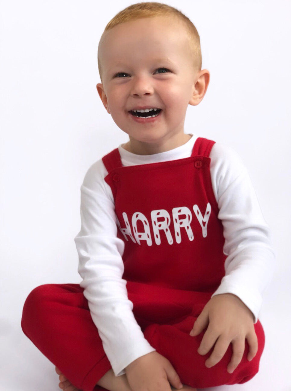 Personalised Christmas Dungarees - Candy Cane