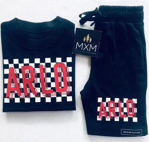 Full Black Check-it Out Short & Tee Set