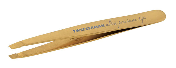 Tweezerman Studio Collection Ultra Precision Series Titanium Nitride Coated Slant, Gold