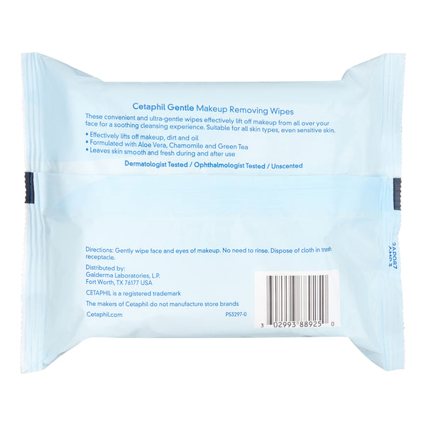 Cetaphil Gentle Makeup Removing Wipes, 25 ct