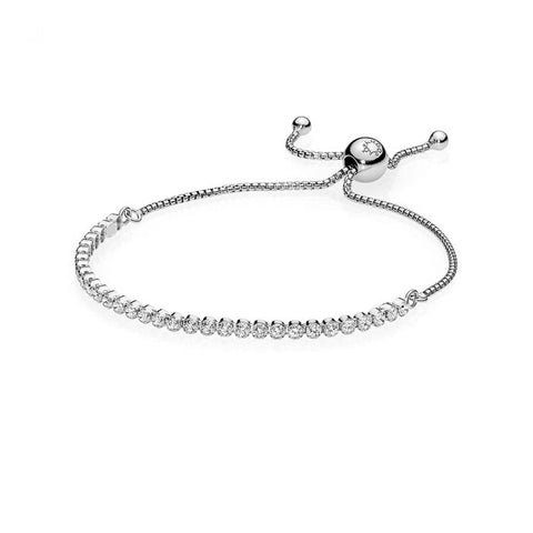 Pandora Sparkling Strand Bracelet, Sterling Silver, Clear Cubic Zirconia, 9.1 in
