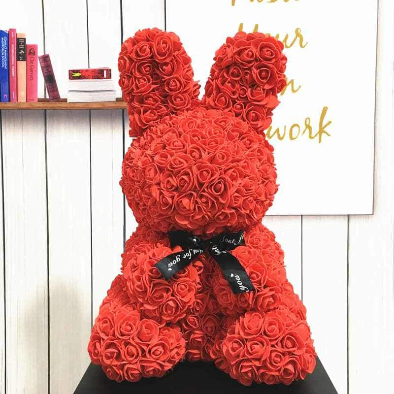 Bunny Rabbit Rose Artificial Flower Gift (Red)